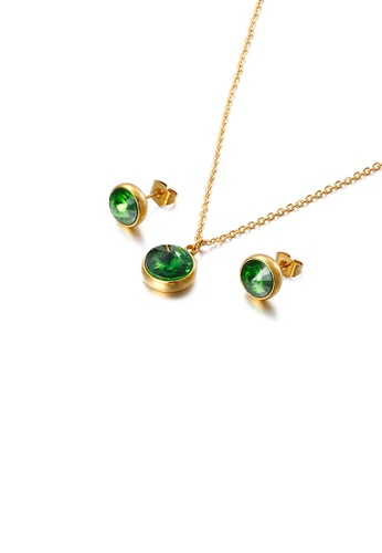 Glamorousky green Fashion and Simple Plated Gold Geometric Round 316L Stainless Steel Necklace and Stud Earrings Set with Green Cubic Zirconia 3797FAC06069E5GS_1
