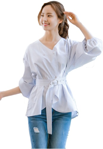 Shopsfashion blue Wrapped Bubble Sleeve Blouse SH656AA0GYCLSG_1