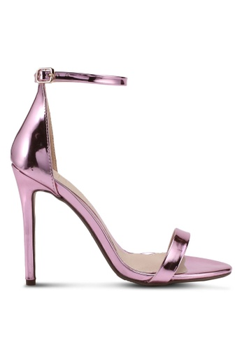 MISSGUIDED pink 2 Strap Metallic Barely There Heels 0F3B3SHC69C1A5GS_1