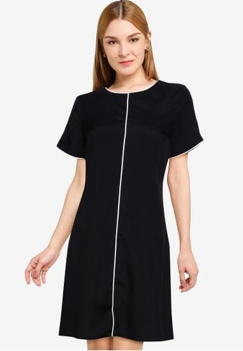 ZALORA WORK black Contrast Trim Keyhole Shift Dress E4980AA4EBBE42GS_1