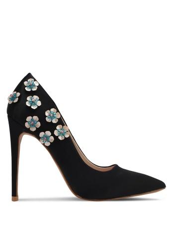 Velvet black Floral Applique Satin Pump Heels 651ECSH7D2C0EAGS_1