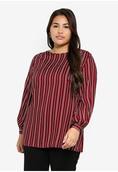 95a37a3761c07e Ex'otico red Plus Size Long Sleeve Blouse 048E4AAE23F87CGS_1
