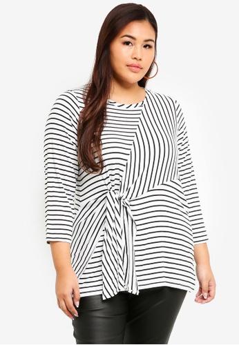 3a9ed0fd83 Dorothy Perkins black Plus Size Mono Stripe Knot Front Top  BEB96AABB75597GS 1