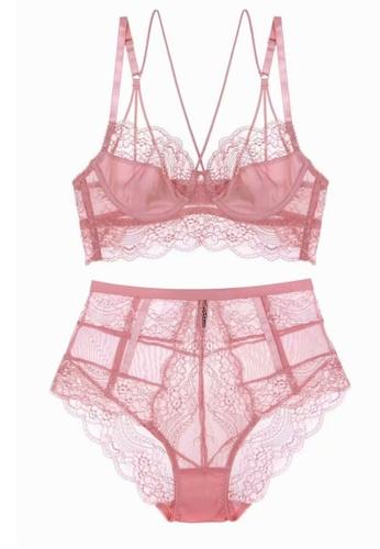 ZITIQUE pink Romantic Lace Lingerie Set (Bra And Underwear) - Pink 9036BUS7165507GS_1