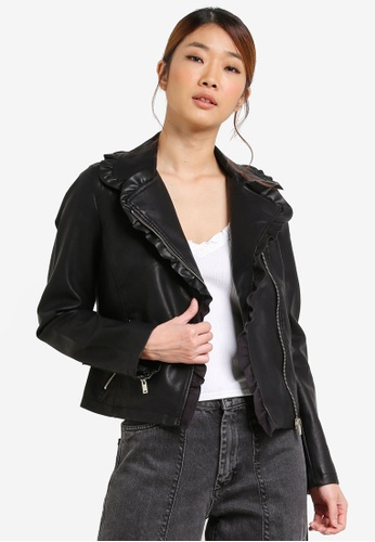 Miss Selfridge black Ruffle PU Biker Jacket MI665AA0SD8NMY_1