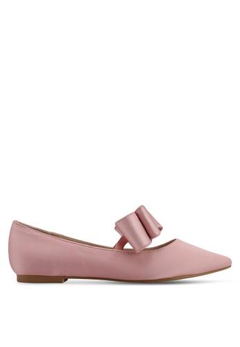 Velvet pink Satin Ballerina Bow Flats 06EC0SHBE73457GS_1