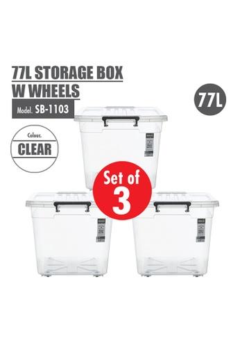 HOUZE [SET OF 3] HOUZE 77L Storage Box with Wheels 5BE73HLC17442DGS_1
