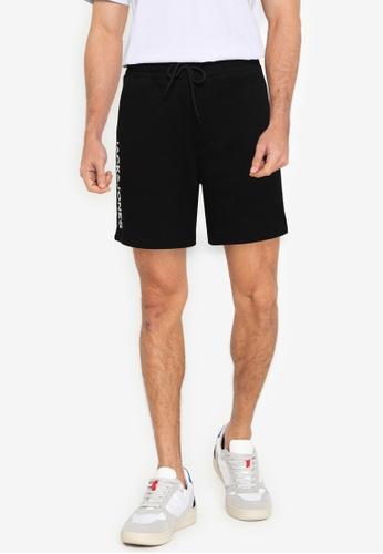 Jack & Jones black Side Soft Sweat Shorts 98508AAEF4FA0EGS_1