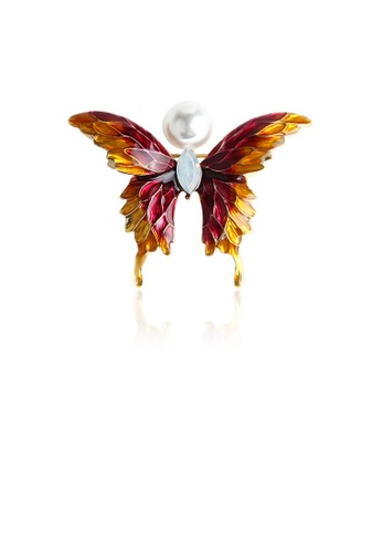 Glamorousky white Fashion and Elegant Plated Gold Red and Yellow Butterfly Imitation Pearl Brooch with Cubic Zirconia AD613AC19D5AFBGS_1