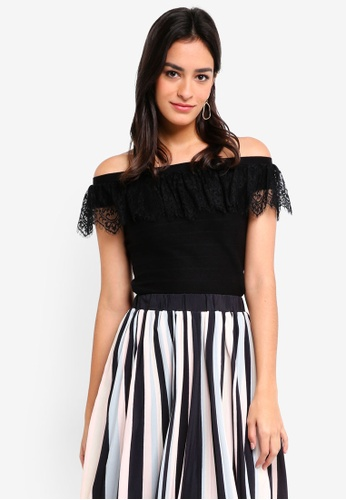 MDSCollections black Lace-Trimmed Overlay Top In Black 60EBCAA2D3264AGS_1