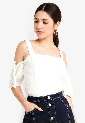 Glamorous white Wrinkle Cold Shoulder Top 28F2CAABB8F42AGS_1