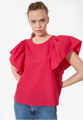 Trendyol pink Flounce Sleeve Top 86807AA09F7D1EGS_1