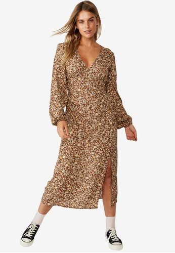 Cotton On brown Woven Heather Long Sleeve Midi Dress 95EF7AA37A57D9GS_1
