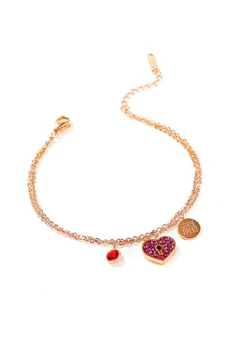 YOUNIQ YOUNIQ LILP Courage Heart 18K Rosegold Brave Fighter Titanium Steel Dangle Bracelet with Red Cubic Zirconia 70D92ACFEB76BFGS_1