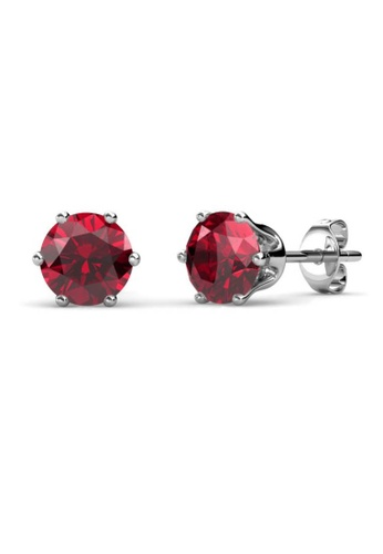 Her Jewellery red Birth Stone Earrings (January, White Gold) - Made with premium grade crystals from Austria B2BA1AC366E037GS_1