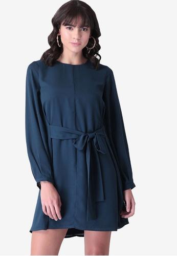 FabAlley blue Belted Shift Dress 5DA86AADC7423CGS_1