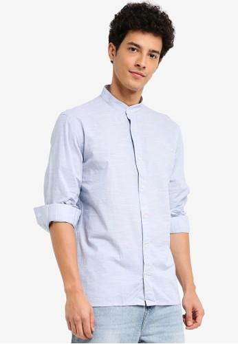 MANGO Man blue Regular-Fit End-On-End Katun Shirt 41479AA14191E1GS_1