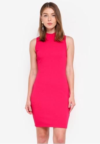 ZALORA pink High Neck Bodycon Dress 8242DAA6898414GS_1