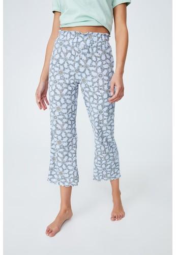 Cotton On Body blue Waffle Wide Leg Crop Pant D0F3EAA338E072GS_1