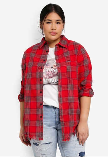 MISSGUIDED red Plus Size Check Shirt EFEAAAA4D24E79GS_1