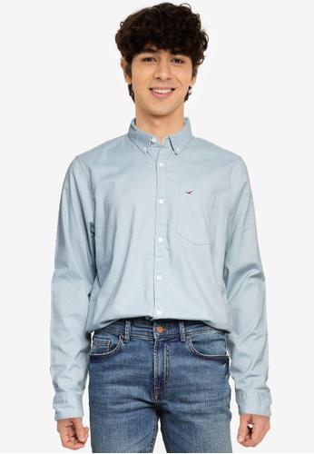 Hollister blue Slim Long Sleeves Shirt 9689CAA4567967GS_1