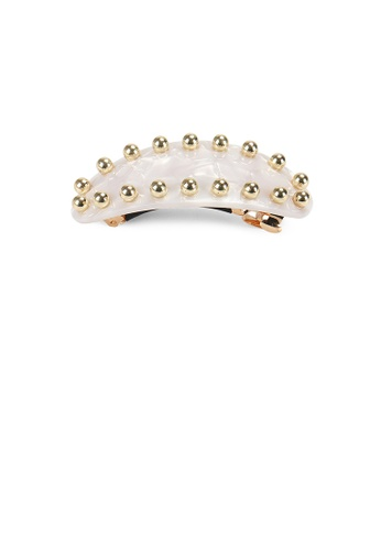 Glamorousky silver Simple Personality Plated Gold Round Beads Beige Geometric Hair Slide BE61FACB1D8364GS_1