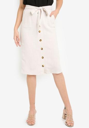9982fc8c6c5db2 Buy Dorothy Perkins Stone Button Midi Skirt Online | ZALORA Malaysia
