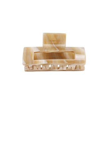 Glamorousky beige Simple Fashion Striped Beige Geometric Hair Claw 03F83ACF8BA362GS_1