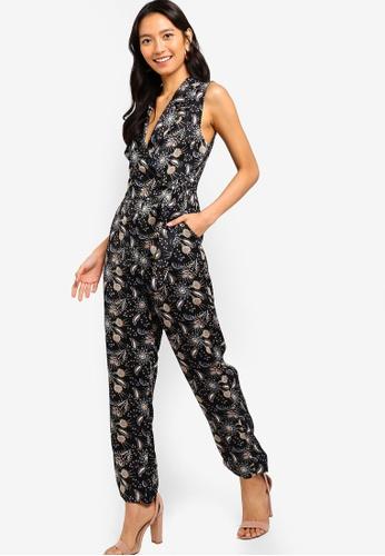ZALORA black and multi Tie Waist Jumpsuit 64324AAB0FE9DBGS_1