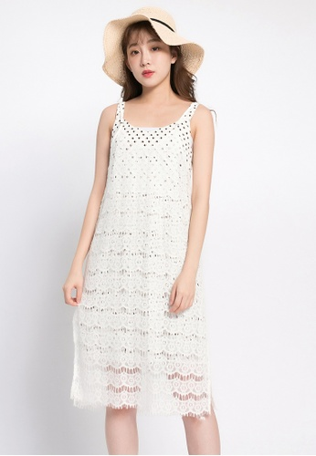 Tokichoi white Laced Longlined Tank Top TO550AA0S1FLMY_1