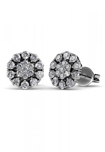 Her Jewellery silver Swarovski® Crystals - Flower in Bloom Earrings(18K White Gold Plated) Her Jewellery HE581AC0RDQMMY_1