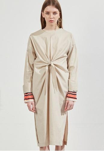 Workwear beige Beige Twist Dress WO056AA54FIVSG_1