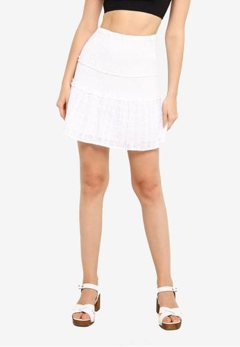 Supre white Violet Shirred Frill Hem Skirt ED145AABDA7393GS_1