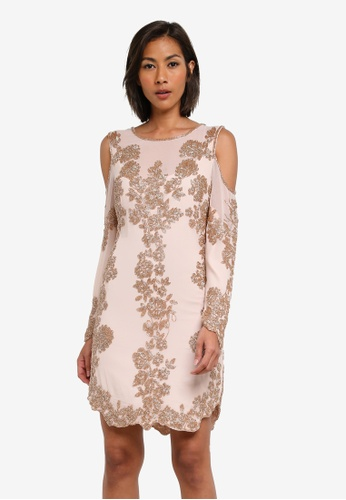Miss Selfridge pink Gold Cold Shoulder Dress MI665AA0SABYMY_1