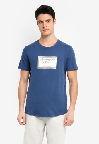 Abercrombie & Fitch blue Print Logo Corp T-Shirt 2EB22AAE76CD11GS_1