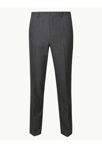 MARKS & SPENCER grey M&S Slim Fit Flat Front Trousers 41474AACFFB693GS_1