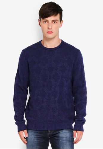 United Colors of Benetton blue Quilted Knitted Sweater 42EE0AA14211D5GS_1