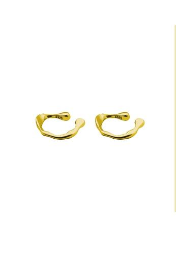 LYCKA 金色 LDR9102 S925純銀 不規則紋理耳夾 59C2BAC9D23074GS_1