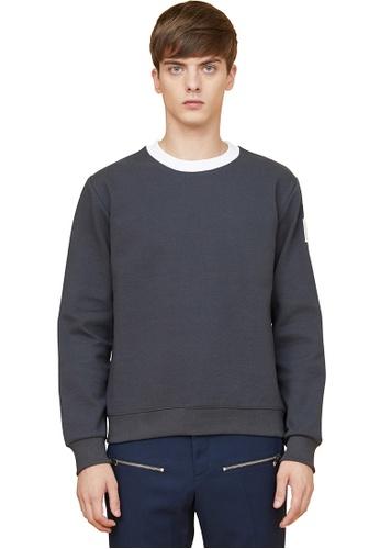 MILLOGREM grey Arm Patch Sweatshirts  MI241AA0GE5QSG_1