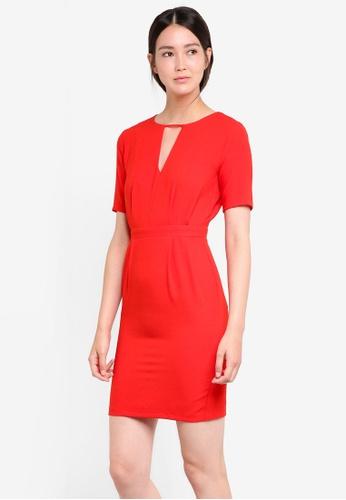 WAREHOUSE red V Front Dress WA653AA95DAEMY_1