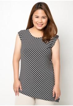 Striped Sleeveless Plus Size Top