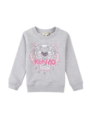 KENZO KIDS grey KENZO TIGER GIRLS SWEATSHIRT FEFCAKAA615AC6GS_1