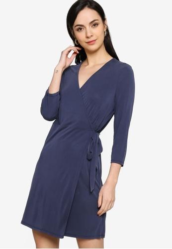 Origin by Zalora navy Wrap Mini Dress made from TENCEL™ 3EA6DAA0100E10GS_1