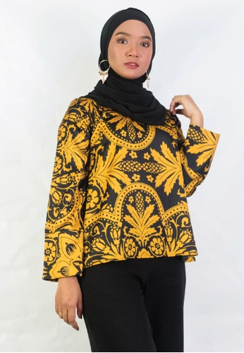 Zaryluq yellow Printed Top in Mehru 498B9AA82FA495GS_1