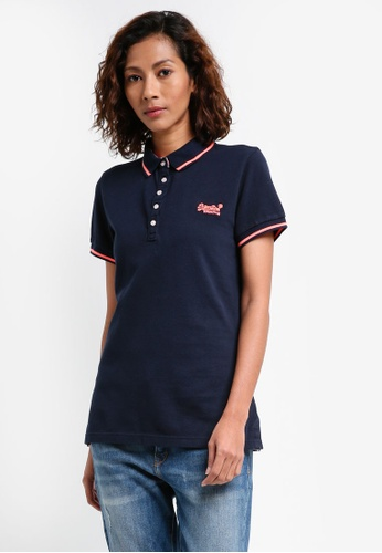 Superdry navy Pacific Polo Shirt 087CBAA0455A0FGS_1