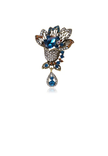 Glamorousky blue Fashion Vintage Plated Gold Flower Brooch with Blue Cubic Zirconia CB1BBAC33968B7GS_1