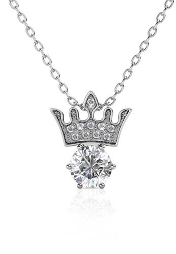 Her Jewellery silver Crown Jewel Pendant (White Gold) - Embellished with Crystals from Swarovski® C68A2AC68FD2C4GS_1
