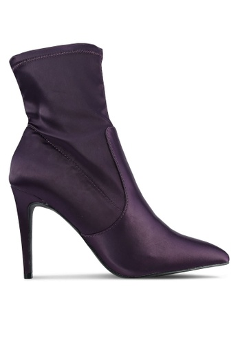 Dorothy Perkins purple Ally Satin Sock Boots DO816SH0S2KMMY_1