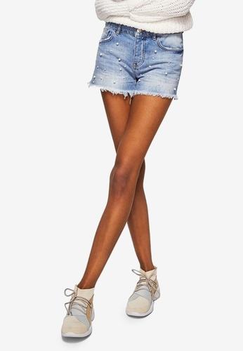 Mango blue Pearl Denim Shorts EE60FAA0E8BA86GS_1