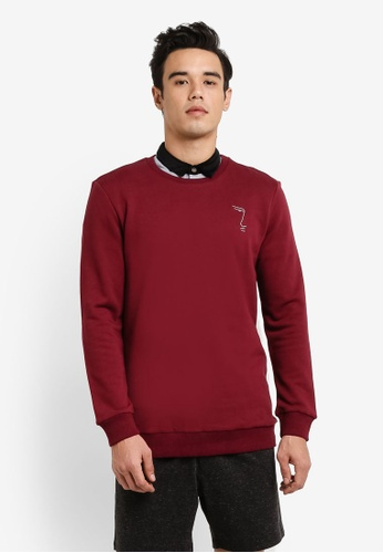 ZALORA red Embroidered Face Detail Sweatshirt E601EAA00FD84CGS_1